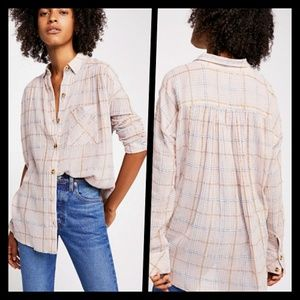 Free People Slouchy Plaid Buttondown Shirt S